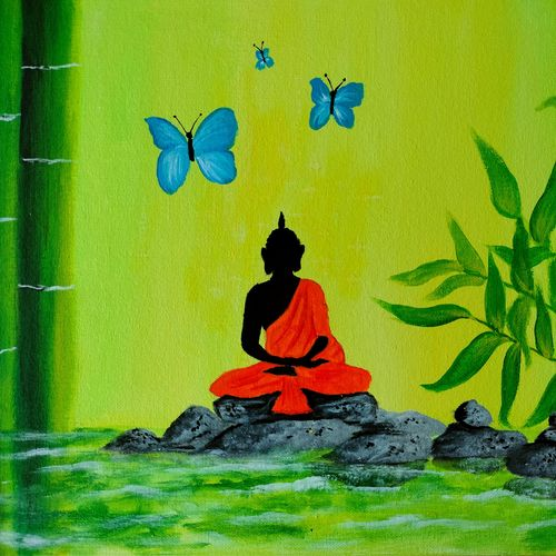 buddha painting, 16 x 12 inch, veena nandavaram,16x12inch,canvas board,paintings,buddha paintings,religious paintings,nature paintings | scenery paintings,paintings for dining room,paintings for living room,paintings for bedroom,paintings for office,paintings for kids room,paintings for hotel,paintings for kitchen,paintings for school,paintings for hospital,acrylic color,GAL02687041707