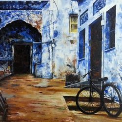 jodhpur, 36 x 24 inch, priyanka dutt,cityscape paintings,paintings for office,canvas,acrylic color,36x24inch,GAL08794171