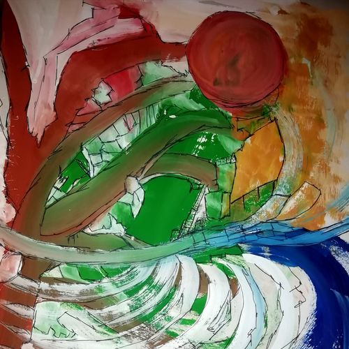 spirals, 12 x 18 inch, anubhuti gupta,12x18inch,paper,paintings,abstract paintings,abstract expressionism paintings,illustration paintings,paintings for dining room,paintings for office,watercolor,ball point pen,GAL02948841711