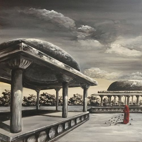 rajwada, 18 x 24 inch, priyanka dutt,cityscape paintings,paintings for office,canvas,acrylic color,18x24inch,GAL08794172