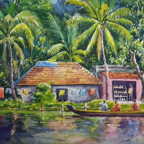 kerala backwater, 16 x 12 inch, anjan  laha,16x12inch,canson paper,landscape paintings,paintings for dining room,paintings for living room,paintings for bedroom,paintings for office,paintings for hotel,paintings for hospital,paintings for dining room,paintings for living room,paintings for bedroom,paintings for office,paintings for hotel,paintings for hospital,watercolor,GAL02936141724