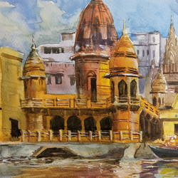 varanasi painting, 15 x 12 inch, anjan  laha,15x12inch,brustro watercolor paper,paintings,landscape paintings,paintings for living room,paintings for bedroom,paintings for office,paintings for hotel,paintings for school,watercolor,GAL02936141725