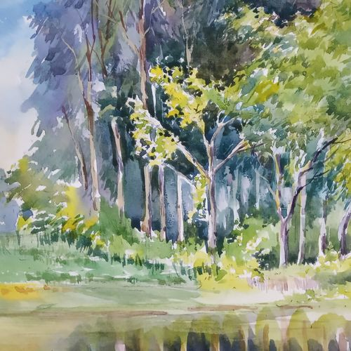 reflection 2, 16 x 12 inch, anjan  laha,16x12inch,canson paper,paintings,landscape paintings,paintings for living room,paintings for bedroom,paintings for hotel,watercolor,GAL02936141726
