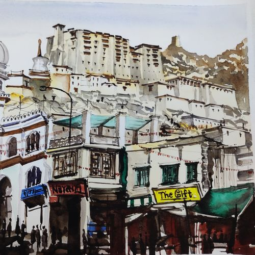 the leh market, 16 x 11 inch, shivam aggarwal,16x11inch,canson paper,paintings,cityscape paintings,landscape paintings,paintings for dining room,paintings for living room,paintings for office,paintings for hotel,paintings for school,paintings for dining room,paintings for living room,paintings for office,paintings for hotel,paintings for school,watercolor,GAL02934541728