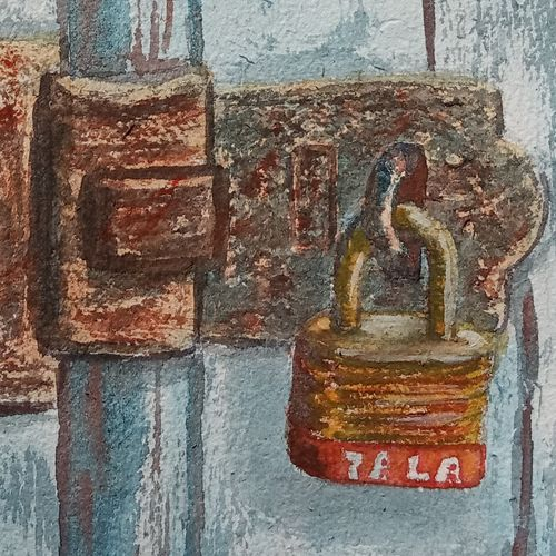 rusted lock on old door , 7 x 11 inch, ajay anand,7x11inch,handmade paper,paintings,modern art paintings,conceptual paintings,still life paintings,realism paintings,paintings for dining room,paintings for living room,paintings for bedroom,paintings for office,paintings for hotel,watercolor,GAL01783941730