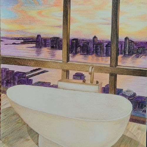 right of of bath_view matters, 12 x 17 inch, shreya anand,12x17inch,canvas,drawings,paintings for dining room,paintings for living room,paintings for bathroom,illustration drawings,paintings for dining room,paintings for living room,paintings for bathroom,pencil color,GAL02951641734