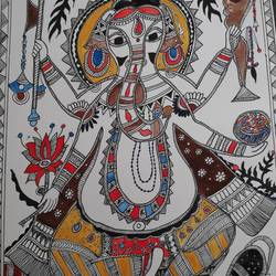 ganpati , 10 x 14 inch, supriya barsode,10x14inch,handmade paper,folk art paintings,religious paintings,ganesha paintings | lord ganesh paintings,paintings for living room,paintings for living room,poster color,watercolor,paper,GAL02914341738