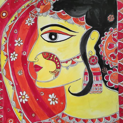 indian bride, 10 x 14 inch, supriya barsode,10x14inch,handmade paper,figurative paintings,folk art paintings,madhubani paintings | madhubani art,paintings for living room,paintings for bedroom,paintings for living room,paintings for bedroom,acrylic color,paper,GAL02914341739