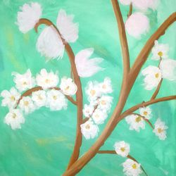 blossom, 20 x 24 inch, madhumitha sudhakar,nature paintings,paintings for living room,flower paintings,canvas board,fabric,20x24inch,GAL014984174Nature,environment,Beauty,scenery,greenery