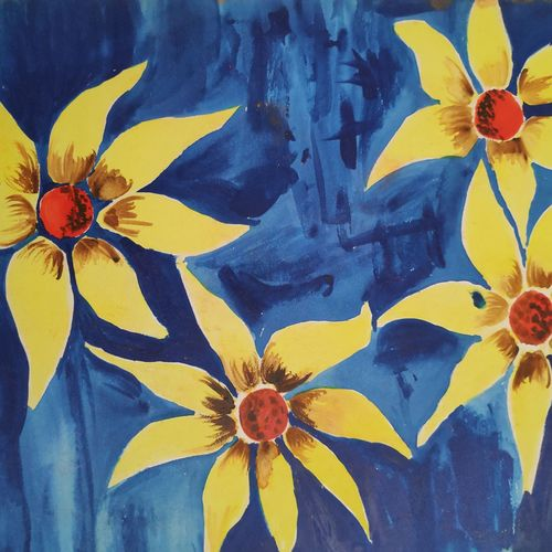yellow flowers against blue, 10 x 14 inch, supriya barsode,10x14inch,paper,paintings,abstract paintings,flower paintings,paintings for dining room,paintings for living room,paintings for bedroom,paintings for office,paintings for kids room,paintings for hotel,paintings for school,paintings for hospital,acrylic color,paper,GAL02914341746