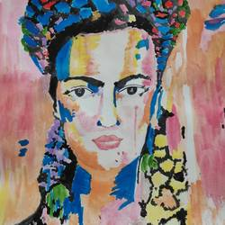 colourful frida, 10 x 14 inch, supriya barsode,10x14inch,paper,paintings,portrait paintings,pop art paintings,paintings for dining room,paintings for living room,paintings for bedroom,paintings for office,paintings for kids room,paintings for hotel,acrylic color,paper,GAL02914341749