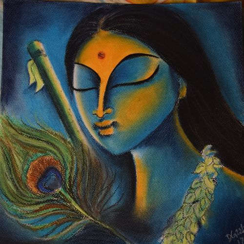memories of love, 12 x 12 inch, debaleena ghosh,figurative paintings,paintings for living room,radha krishna paintings,brustro watercolor paper,pastel color,12x12inch,GAL014994175,radha,lordradha,flute,love,peace