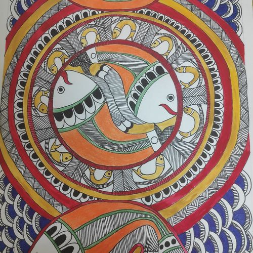 madhubani fishes , 10 x 14 inch, supriya barsode,10x14inch,paper,paintings,madhubani paintings | madhubani art,paintings for dining room,paintings for living room,paintings for bedroom,paintings for office,paintings for bathroom,paintings for kids room,paintings for hotel,paintings for school,acrylic color,poster color,watercolor,GAL02914341750