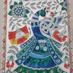 madhubani peacock, 10 x 14 inch, supriya barsode,10x14inch,paper,paintings,madhubani paintings | madhubani art,paintings for dining room,paintings for living room,paintings for bedroom,paintings for office,paintings for hotel,paintings for school,acrylic color,paper,GAL02914341751