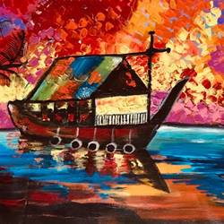 modern art boat scenery, 16 x 36 inch, pragati c,16x36inch,canvas,paintings,abstract paintings,landscape paintings,modern art paintings,conceptual paintings,nature paintings | scenery paintings,abstract expressionism paintings,paintings for dining room,paintings for living room,paintings for bedroom,paintings for office,paintings for kids room,paintings for school,paintings for hospital,acrylic color,GAL02554641756