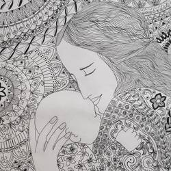 mother and child, 9 x 13 inch, supriya barsode,9x13inch,paper,drawings,figurative drawings,paintings for living room,paintings for bedroom,paintings for kids room,paintings for school,paintings for hospital,pen color,paper,GAL02914341757