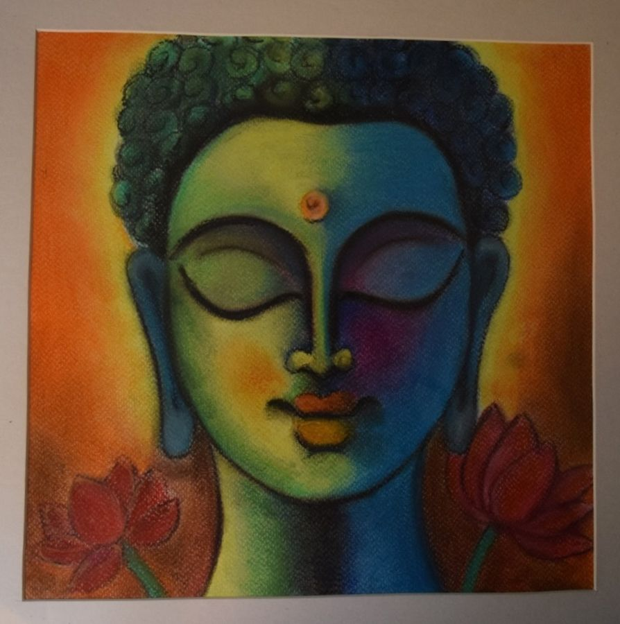 buddha, 12 x 12 inch, debaleena ghosh,buddha paintings,paintings for living room,brustro watercolor paper,pastel color,12x12inch,religious,peace,meditation,meditating,gautam,goutam,buddha,blue,lotus,GAL014994176