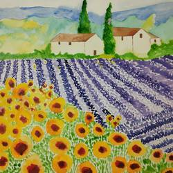 lavender and sunflower field, 10 x 14 inch, supriya barsode,10x14inch,paper,paintings,landscape paintings,impressionist paintings,paintings for dining room,paintings for living room,paintings for bedroom,paintings for office,paintings for kids room,paintings for hotel,paintings for kitchen,paintings for school,paintings for hospital,acrylic color,watercolor,paper,GAL02914341760
