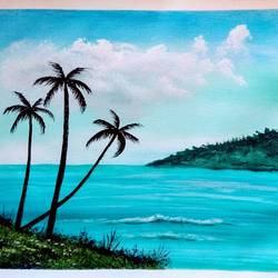 blue island sea scenery , 12 x 10 inch, sai amale ,12x10inch,canvas,paintings,landscape paintings,nature paintings | scenery paintings,paintings for dining room,paintings for living room,paintings for bedroom,paintings for office,paintings for hotel,paintings for kitchen,acrylic color,GAL02904141770