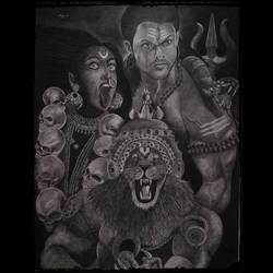 furious lord shiva, narasimha and bhadra, 22 x 28 inch, anek a,22x28inch,ivory sheet,paintings for dining room,paintings for living room,expressionism drawings,portrait drawings,realism drawings,paintings for dining room,paintings for living room,charcoal,pencil color,graphite pencil,GAL02952641771