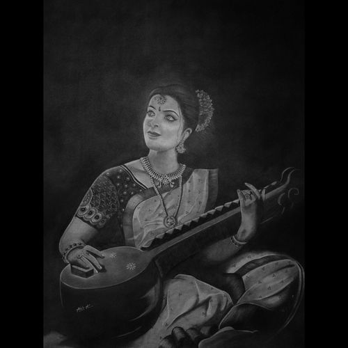 woman playing veena, 22 x 28 inch, anek a,22x28inch,ivory sheet,paintings for dining room,paintings for living room,paintings for bedroom,paintings for office,paintings for hotel,paintings for kitchen,paintings for school,paintings for hospital,abstract expressionism drawings,expressionism drawings,figurative drawings,fine art drawings,folk drawings,impressionist drawings,photorealism drawings,portrait drawings,realism drawings,surrealism drawings,paintings for dining room,paintings for living room,paintings for bedroom,paintings for office,paintings for hotel,paintings for kitchen,paintings for school,paintings for hospital,charcoal,pencil color,graphite pencil,GAL02952641774