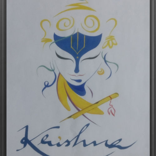 lord krishna, 14 x 22 inch, nitesh suthar,religious paintings,paintings for living room,radha krishna paintings,thick paper,watercolor,14x22inch,GAL08464178