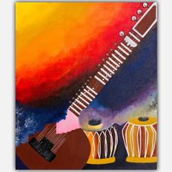 rainbow music, 12 x 14 inch, shreya khandelwal,12x14inch,canvas,paintings,abstract paintings,folk art paintings,cityscape paintings,modern art paintings,conceptual paintings,paintings for dining room,paintings for living room,paintings for bedroom,paintings for office,paintings for kids room,paintings for hotel,paintings for school,acrylic color,GAL02716441781