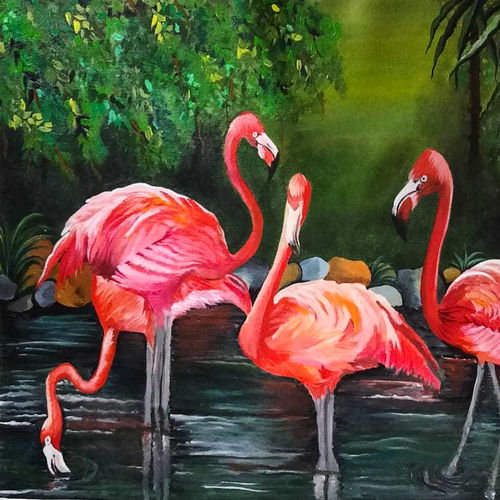beautiful flamingos in the forest, 23 x 17 inch, rachita bhaumik ,23x17inch,canvas,paintings,wildlife paintings,nature paintings | scenery paintings,animal paintings,paintings for dining room,paintings for living room,paintings for bedroom,paintings for office,paintings for hotel,acrylic color,GAL02099641788