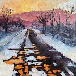 the unknown road, 12 x 12 inch, vinita sadarangani,12x12inch,canvas,paintings,abstract paintings,landscape paintings,modern art paintings,conceptual paintings,nature paintings | scenery paintings,paintings for dining room,paintings for living room,paintings for bedroom,paintings for office,paintings for hotel,acrylic color,GAL02885141789