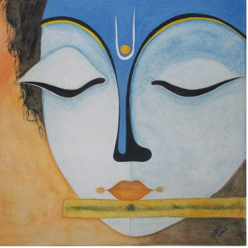 lord krishna love with music , 12 x 12 inch, nitesh suthar,religious paintings,paintings for office,radha krishna paintings,drawing paper,watercolor,12x12inch,GAL08464179,krishna,love,flute,lordkrishna,peace