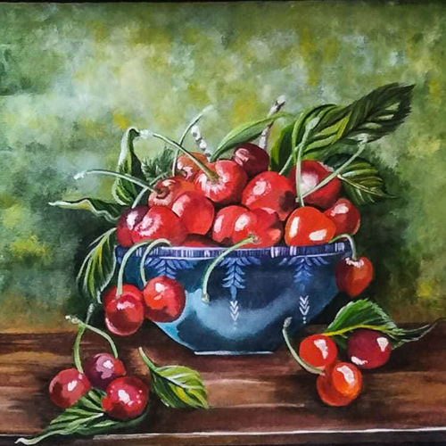 beautiful red cherries, 20 x 13 inch, rachita bhaumik ,20x13inch,canvas,paintings,still life paintings,paintings for dining room,paintings for living room,paintings for hotel,paintings for kitchen,acrylic color,GAL02099641791