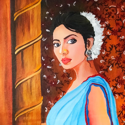 pratiksha (waiting), 15 x 20 inch, rachita bhaumik ,15x20inch,canvas,paintings,figurative paintings,portrait paintings,paintings for dining room,paintings for living room,paintings for bedroom,paintings for hotel,acrylic color,GAL02099641792