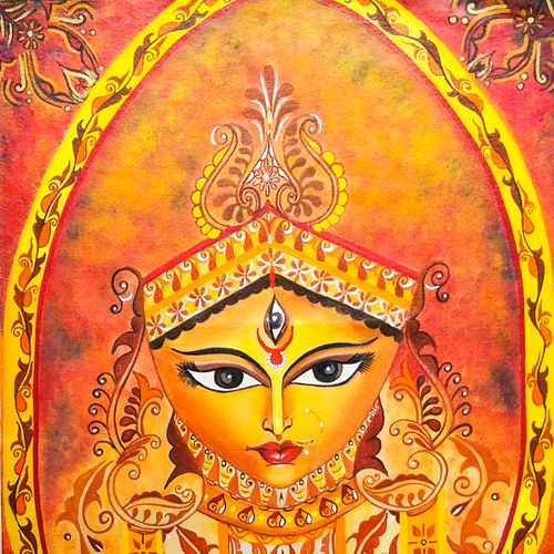 maa durga - mother of the universe, 17 x 24 inch, rachita bhaumik ,17x24inch,canvas,religious paintings,paintings for dining room,paintings for living room,paintings for dining room,paintings for living room,acrylic color,GAL02099641794