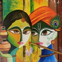 radha krishna painting , 14 x 16 inch, jyotsana  rao,14x16inch,canvas board,radha krishna paintings,paintings for living room,paintings for bedroom,paintings for living room,paintings for bedroom,acrylic color,GAL02446241799