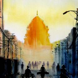 chandni chowk street, 16 x 32 inch, sumit nahar,cityscape paintings,paintings for bedroom,renaissance watercolor paper,watercolor,16x32inch,GAL0190418
