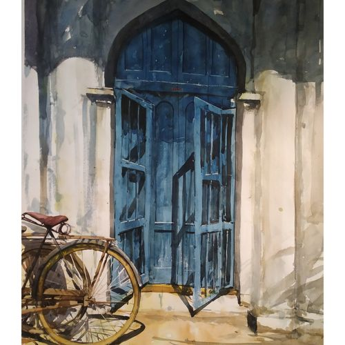 blue door, 22 x 28 inch, soyli saha,22x28inch,thick paper,paintings,conceptual paintings,still life paintings,realism paintings,contemporary paintings,realistic paintings,paintings for dining room,paintings for living room,paintings for bedroom,paintings for office,paintings for bathroom,paintings for kids room,paintings for hotel,paintings for kitchen,paintings for school,paintings for hospital,watercolor,GAL0606541802