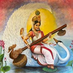 saraswati - indian goddess of knowledge- painting for homes and offices, 36 x 34 inch, gaurangi gupta,36x34inch,canvas,paintings,abstract paintings,religious paintings,nature paintings | scenery paintings,photorealism paintings,photorealism,portraiture,realism paintings,paintings for dining room,paintings for bedroom,paintings for office,paintings for bathroom,paintings for kids room,paintings for hotel,paintings for kitchen,paintings for school,paintings for hospital,paintings for dining room,paintings for bedroom,paintings for office,paintings for bathroom,paintings for kids room,paintings for hotel,paintings for kitchen,paintings for school,paintings for hospital,acrylic color,GAL02814641812