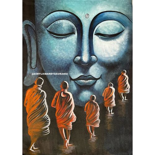 buddha- the majestic one and his disciples walking the path to light, 24 x 36 inch, gaurangi gupta,24x36inch,canvas,paintings,abstract paintings,buddha paintings,landscape paintings,nature paintings | scenery paintings,art deco paintings,photorealism paintings,photorealism,portraiture,realism paintings,surrealism paintings,love paintings,paintings for dining room,paintings for living room,paintings for bedroom,paintings for office,paintings for bathroom,paintings for kids room,paintings for hotel,paintings for kitchen,paintings for school,paintings for hospital,paintings for dining room,paintings for living room,paintings for bedroom,paintings for office,paintings for bathroom,paintings for kids room,paintings for hotel,paintings for kitchen,paintings for school,paintings for hospital,acrylic color,GAL02814641814