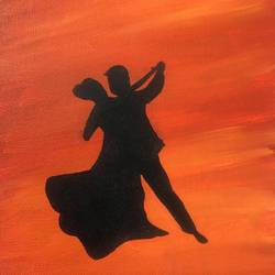 dancing couple, 8 x 12 inch, ruchi chandra verma,8x12inch,canvas,paintings,figurative paintings,contemporary paintings,paintings for living room,paintings for bedroom,paintings for office,acrylic color,GAL02794541817
