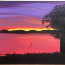 serene sunrise by the lake, 16 x 12 inch, ruchi chandra verma,16x12inch,canvas,paintings,landscape paintings,nature paintings | scenery paintings,paintings for dining room,paintings for living room,paintings for bedroom,paintings for office,acrylic color,GAL02794541819
