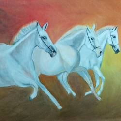 horses going wild, 18 x 24 inch, shweta singh,wildlife paintings,paintings for living room,animal paintings,horse paintings,canvas,acrylic color,18x24inch,GAL012424182