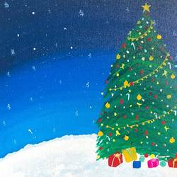 christmas tree on a snowy mountain, 10 x 12 inch, ruchi chandra verma,10x12inch,canvas,paintings,landscape paintings,nature paintings | scenery paintings,paintings for living room,paintings for bedroom,paintings for kids room,acrylic color,GAL02794541820