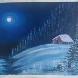 moon winter scenery , 12 x 10 inch, sai amale ,12x10inch,canvas,paintings,landscape paintings,nature paintings   scenery paintings,paintings for dining room,paintings for living room,paintings for bedroom,paintings for office,paintings for hotel,paintings for kitchen,acrylic color,GAL02904141824