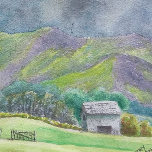 purple hills, 10 x 7 inch, ajay anand,10x7inch,handmade paper,paintings,landscape paintings,nature paintings | scenery paintings,impressionist paintings,paintings for dining room,paintings for living room,paintings for bedroom,paintings for office,paintings for bathroom,paintings for kids room,paintings for hotel,paintings for hospital,watercolor,GAL01783941825