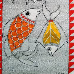 madhubani fish, 10 x 20 inch, srimonti dutta,10x20inch,handmade paper,paintings,abstract paintings,folk art paintings,madhubani paintings | madhubani art,paintings for dining room,paintings for living room,paintings for bedroom,paintings for office,paintings for hotel,paintings for hospital,acrylic color,pen color,GAL02833841827