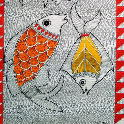 madhubani fish, 10 x 20 inch, srimonti dutta,10x20inch,handmade paper,paintings,abstract paintings,folk art paintings,madhubani paintings   madhubani art,paintings for dining room,paintings for living room,paintings for bedroom,paintings for office,paintings for hotel,paintings for hospital,acrylic color,pen color,GAL02833841827