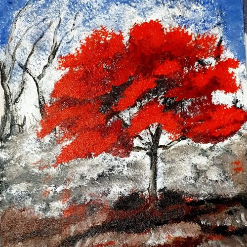 red tree, 14 x 12 inch, anjuu koul,14x12inch,canvas,paintings,abstract paintings,contemporary paintings,paintings for dining room,paintings for living room,paintings for bedroom,paintings for office,paintings for bathroom,paintings for kids room,paintings for hotel,acrylic color,GAL02960741845