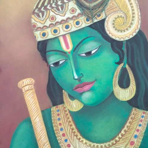 krishna , 23 x 33 inch, shriti chakraborty,23x33inch,thick paper,religious paintings,paintings for living room,paintings for bedroom,paintings for office,pastel color,GAL02960641848