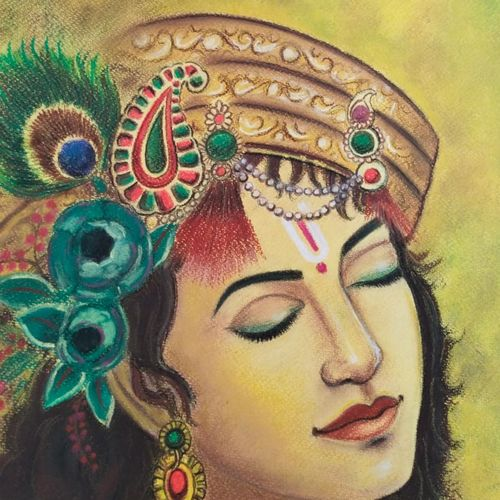 krishna , 11 x 12 inch, shriti chakraborty,11x12inch,thick paper,religious paintings,paintings for dining room,paintings for living room,paintings for bedroom,pastel color,GAL02960641849