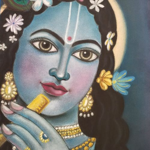 krishna, 11 x 12 inch, shriti chakraborty,11x12inch,thick paper,religious paintings,paintings for dining room,paintings for living room,paintings for bedroom,pastel color,GAL02960641851
